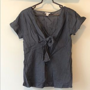 J crew size 4 grey cotton blouse